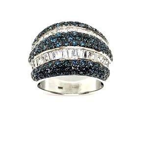 18k White Gold Blue Diamonds Set , White Sapphires
